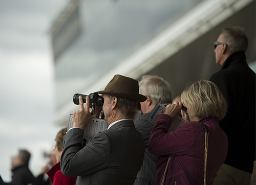 Racegoers view the action in the fillies handicap Newmarket 24.9.15 Pic: Edward Whitaker