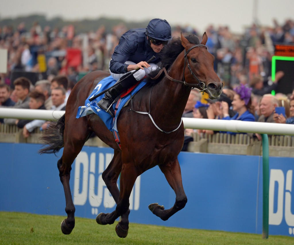 AIR FORCE BLUE with R Moore wins in Dewhurst Stakes at Newmarket 10-10-15.