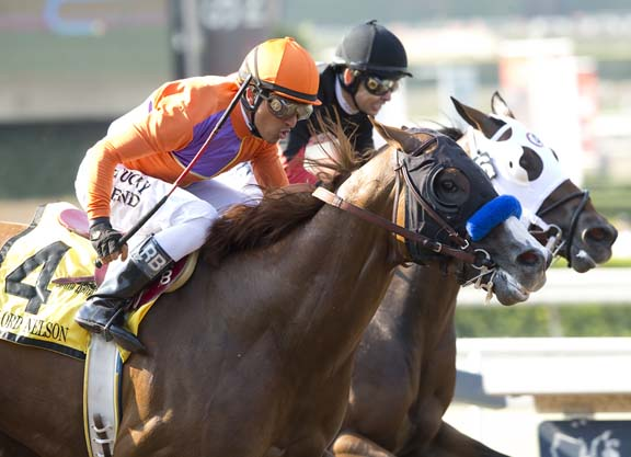 Spendthrift Farm's Lord Nelson and jockey Rafael Bejarano, outside, outgame Subtle Indian and Mike Smith, inside, to win the Grade I Triple Bend Stakes Saturday, June 25, 2016 at Santa Anita Park, Arcadia, CA. ©Benoit Photo