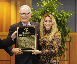 Jerry and Ann Moss accepts induction plaque for Zenyatta at 2016 Hall of Fame induction ceremony at Fasig Tipton pavillion in Saratoga Springs, NY 8.12.2016